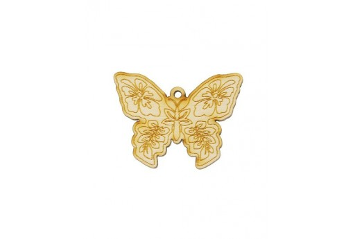 Butterfly Wooden Pendant 40x30mm - 2pcs