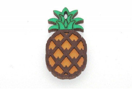 Wooden Pendant Multicolor Pineapple 40x22mm - 1pcs