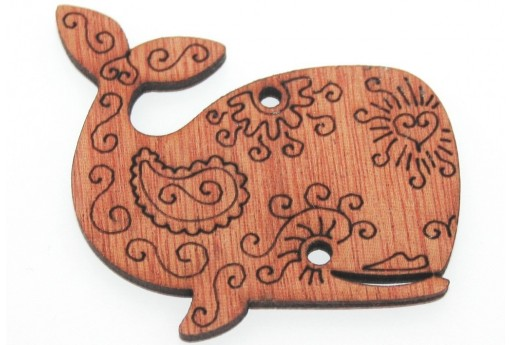 Wooden Pendant Brown Whale 58x53mm - 1pcs