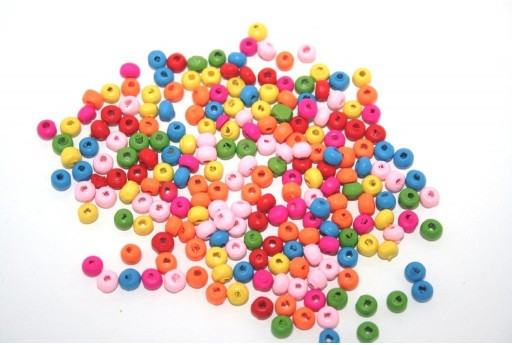 Wood Beads Round Mix Color 4mm - 50gr