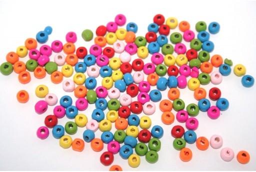 Perline Legno Mix Color Tondo 6mm - 50gr