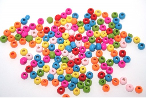 Wood Beads Round Mix Color 6mm - 50gr