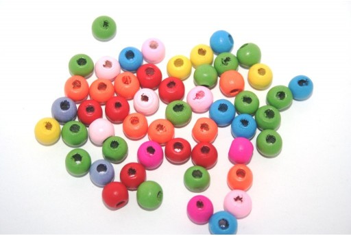 Wood Beads Round Mix Color 8mm - 50gr