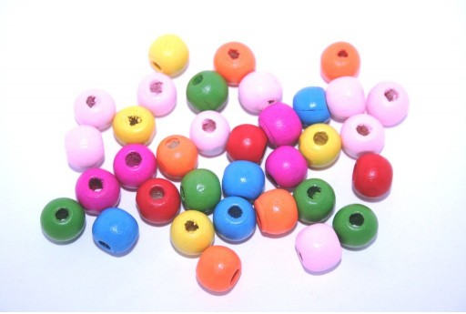 Wood Beads Round Mix Color 10mm - 50gr