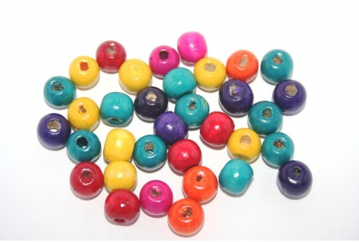 Wood Beads Round Multicolor 10mm - 100pcs