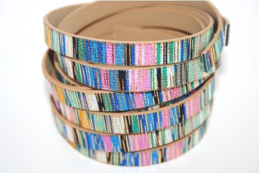 Cordoncino di Cuoio Sintetico Piatto Blue Glitter 10mm - 50cm