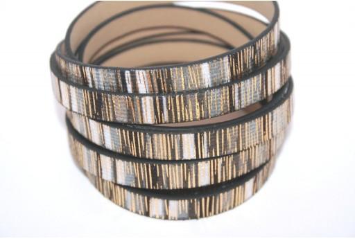 Cordoncino di Cuoio Sintetico Piatto Nero Glitter 10mm - 50cm