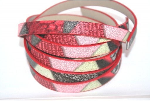 Red Multicolor Flat Faux Leather 10mm - 50cm