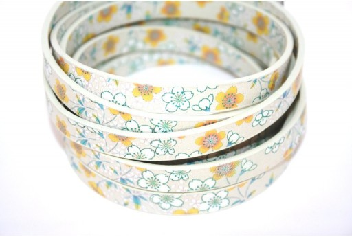 Flat Faux Leather Flower Yellow 10mm - 50cm