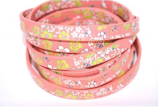 Cordoncino di Cuoio Sintetico Piatto Fiori Rosa 10mm - 50cm