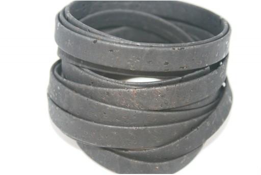 Cordoncino di Sughero Piatto Nero 10mm - 50cm
