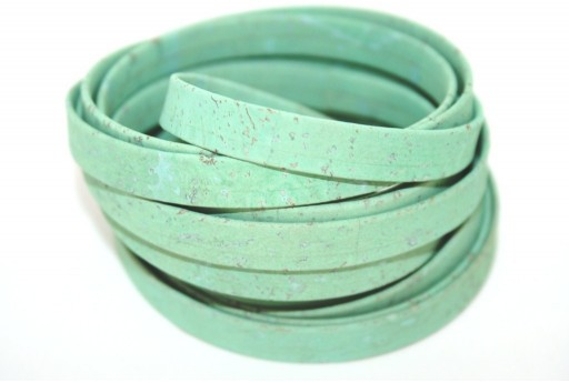 Cork Cord Flat Light Green 10mm - 50cm