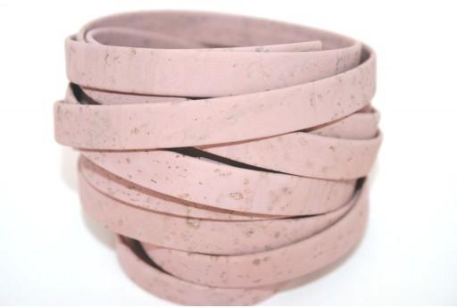 Cordoncino di Sughero Piatto Rosa 10mm - 50cm