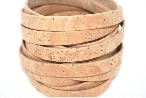 Cordoncino di Sughero Piatto Beige 10mm - 50cm