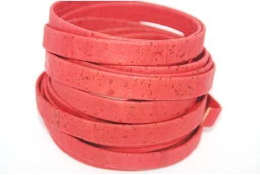 Cordoncino di Sughero Piatto Rosso 10mm - 50cm