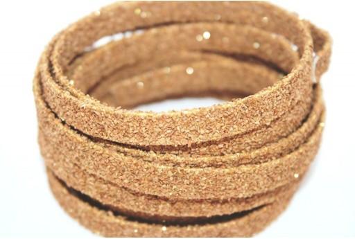 Cordoncino di Sughero Piatto Beige Glitter 10mm - 50cm