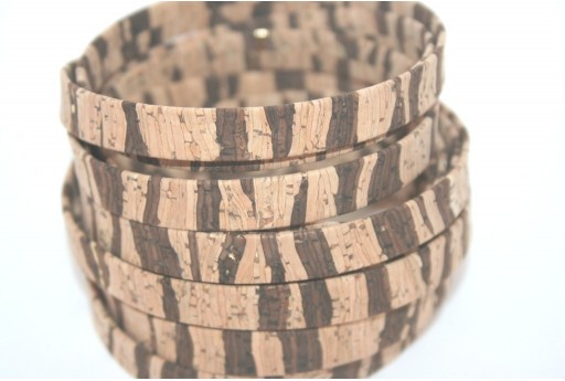 Cork Cord Flat Zebra Natural Brown 10mm - 50cm