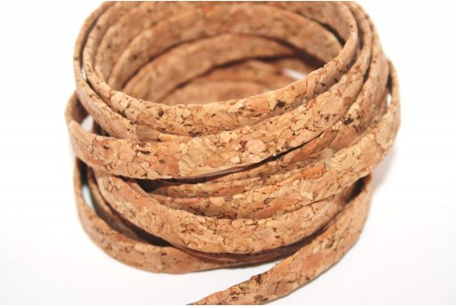 Cork Cord Flat Natural Fantasy 10mm - 50cm