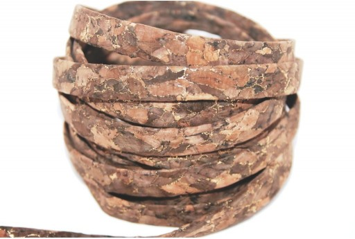 Cork Cord Flat Brown Fantasy 10mm - 50cm