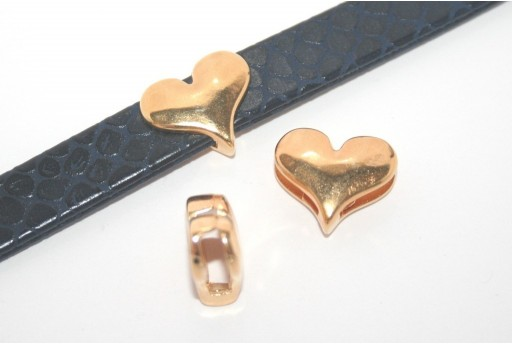 Gold Heart Bead For Flat Cord 10mm - 1pcs