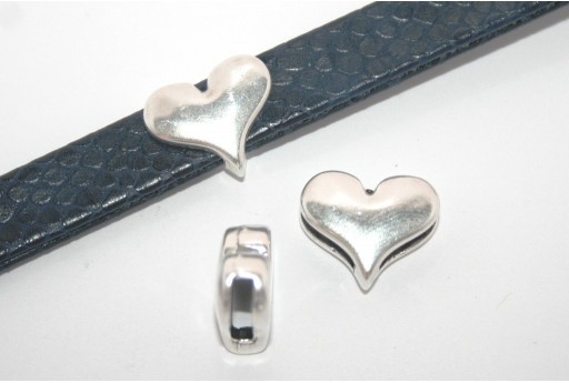Silver Heart Bead For Flat Cord 10mm - 1pcs