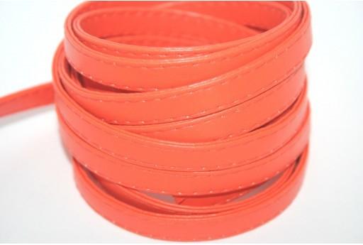 Cordoncino di Cuoio Sintetico Piatto Arancio 10mm - 50cm