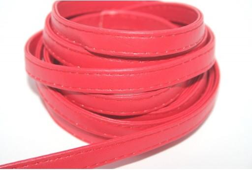 Cordoncino di Cuoio Sintetico Piatto Rosso 10mm - 50cm