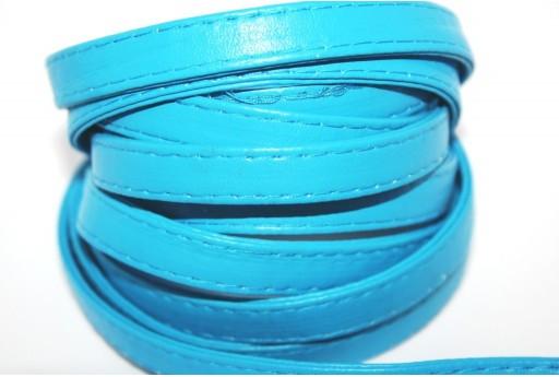Cordoncino di Cuoio Sintetico Piatto Turchese 10mm - 50cm