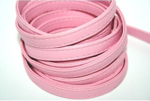 Cordoncino di Cuoio Sintetico Piatto Rosa 10mm - 50cm