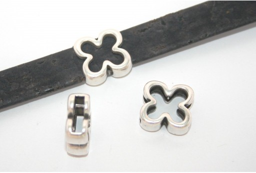 Silver Flower Bead For Flat Cord 10mm - 2pcs
