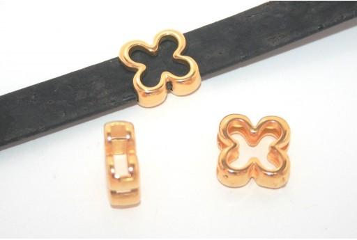Gold Flower Bead For Flat Cord 10mm - 2pcs