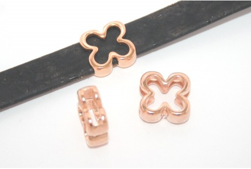 Rose Gold Flower Bead For Flat Cord 10mm - 2pcs