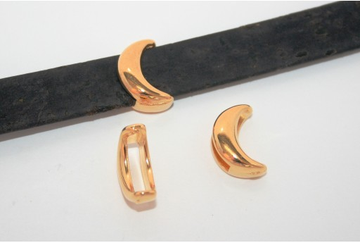 Gold Moon Bead For Flat Cord 10mm - 2pcs