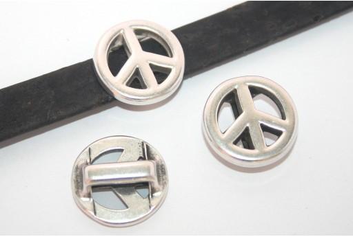 Componente per Corda Piatta Segno della Pace Argento 10mm - 1pz