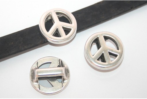 Silver Peace Sign Bead For Flat Cord 10mm - 1pcs
