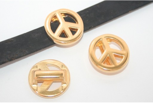 Gold Peace Sign Bead For Flat Cord 10mm - 1pcs