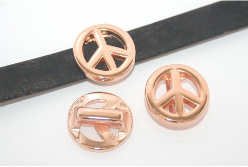 Rose Gold Peace Sign Bead For Flat Cord 10mm - 1pcs