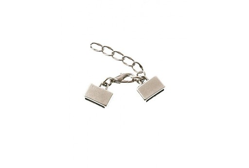 Silver Flat Cord Clasp Set 10mm - 1pcs