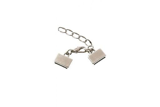 Silver Flat Cord Clasp Set 10mm - 1pcs
