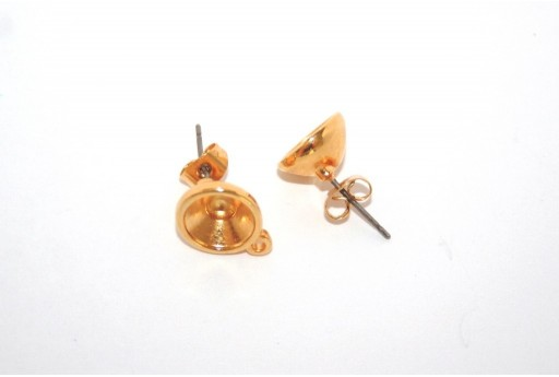 Gold Earring Setting Stone SS39 - 2pcs