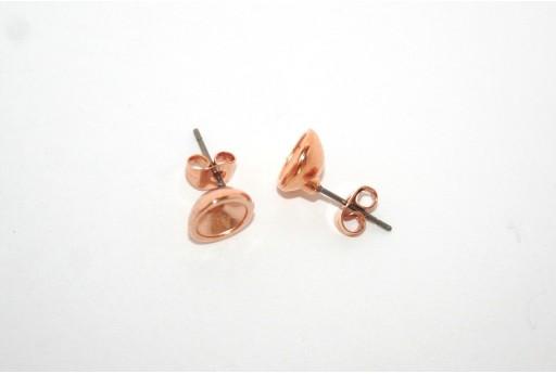 Orecchino Perno Oro Rosa con Castone SS29 - 2pz
