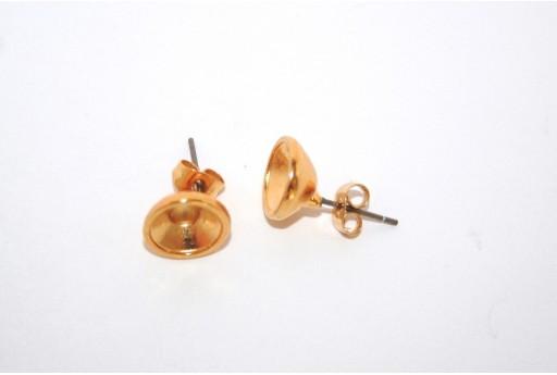 Orecchino Perno Oro con Castone SS39 - 2pz