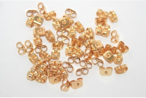 Gold Steel Ear Back Stops 6,5x4,5mm - 30pcs