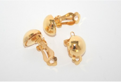 Gold Round Clip On Earrings 20x13mm - 2pcs