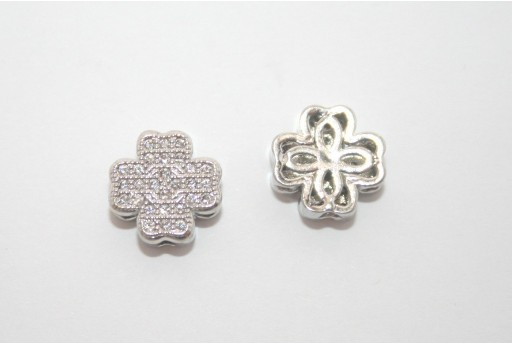 Cubic Zirconia Micro Pavè Cross Beads 10mm
