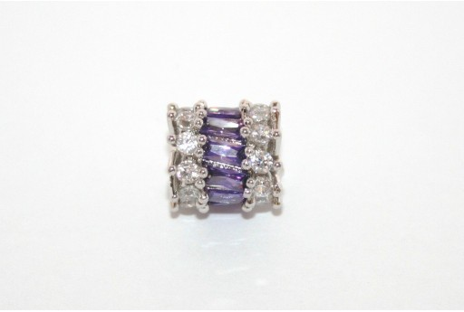 Cubic Zirconia Micro Pavè Rondelle Beads Purple 10x11mm