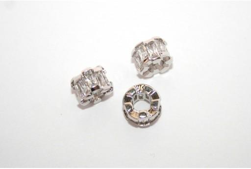 Cubic Zirconia Micro Pavè Rondella Crystal 6x8mm