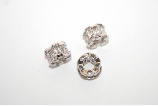 Cubic Zirconia Micro Pavè Rondelle Beads Crystal 6x8mm