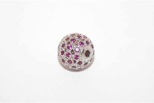 Cubic Zirconia Micro Pavè Beads Fuchsia 10mm