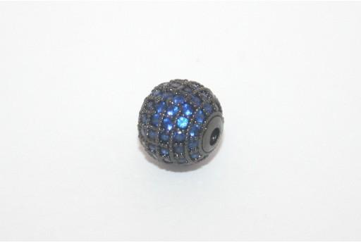 Cubic Zirconia Micro Pavè Tondo Blue 10mm